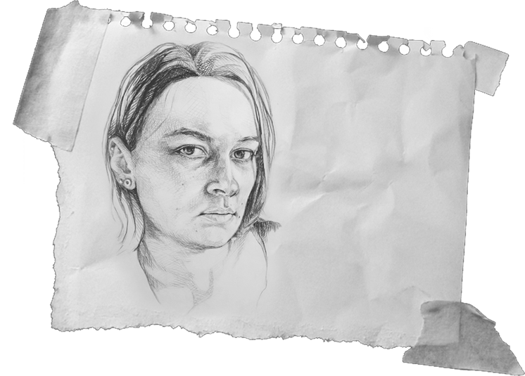 Links to social media, email, imprint and the website of the social organisation queerlig. background image: self portrait of the artist, drawn in a fine hatching technique. Person looks very directly, almost challenging, into the viewer's eyes.